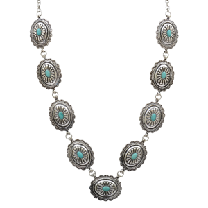 Women's  Silver/Turquoise Concho Necklace