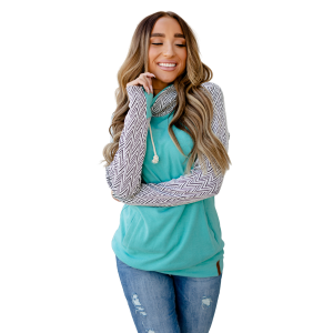 Women's  You Drive Me Crazy Teal DoubleHood Sweatshirt