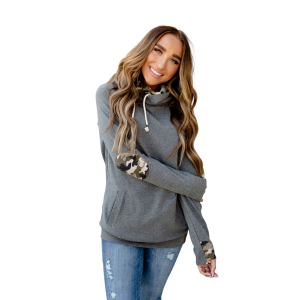 Women's  Camo Elbow Patch DoubleHood Sweatshirt