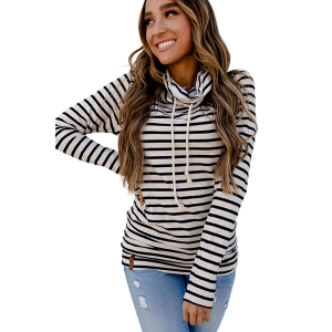 Women's  Tan Stripe Cowlneck Sweatshirt