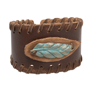 Women's  Laced Up Feather Cuff Bracelet