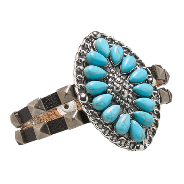 Turquoise/Silver Oval Double Skinny Cuff Bracelet