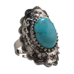Women's  Turquoise Oval Concho Ring
