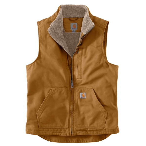 Washed Duck Sherpa-Lined Mock Vest