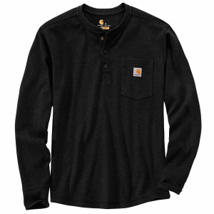 Men's  Relaxed Fit Heavyweight Long Sleeve Henley Pocket Thermal Shirt