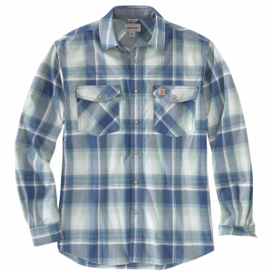 Men's  Rugged Flex Relaxed Fit Lightweight Plaid Long Sleeve Snap Shirt