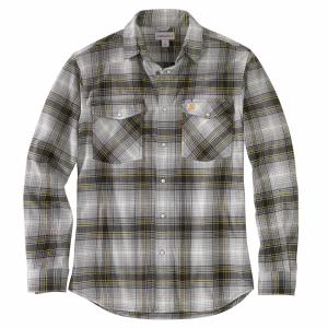 Men's  Rugged Flex Relaxed Fit Flannel Plaid Long Sleeve Snap Shirt