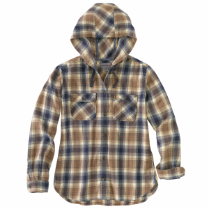 Women's  Relaxed Fit Flannel Hooded Shirt