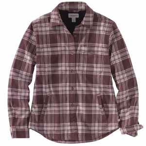 Women's  Rugged Flex Relaxed Fit Flannel Fleece Lined Plaid Shirt
