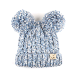 Kids'  Cable Knit Double Pom Pom Beanie