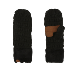 Women's  Ribbed Knit Sherpa Lined Mittens