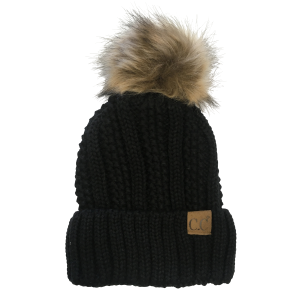Women's  Cable Knit Fur Pom Pom Beanie