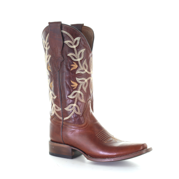 Cognac Embroidered Square Toe Boot