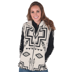 Women's  Reversible Sherpa Vest with Embroidered Chest
