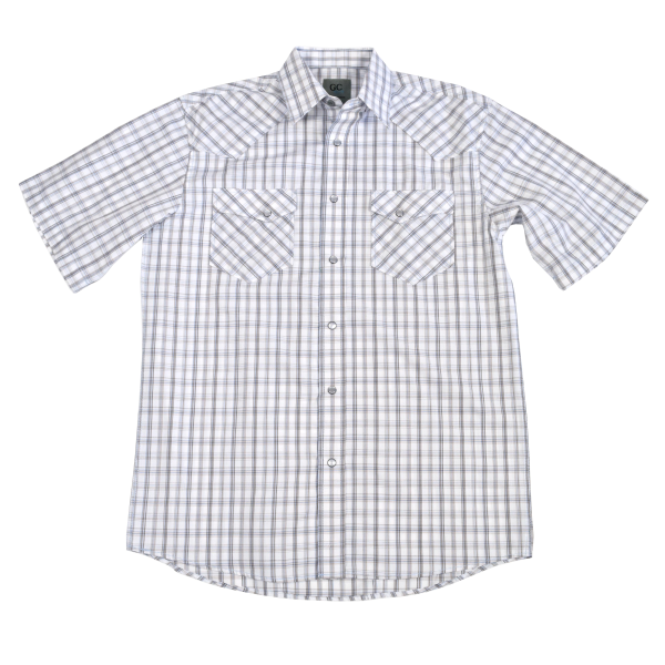 Short Sleeve Brown and White Snap Shirt