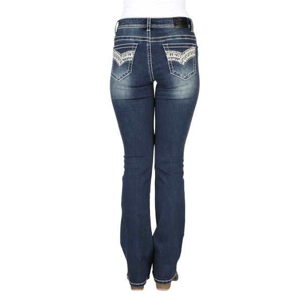 Curve Embroidery Boot Cut Jean