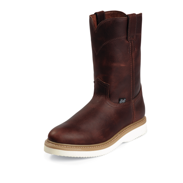 Tan Premium Pull-On Workboot with Wedge Outsole