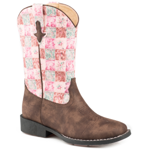 Girls'  Floral Shine Square Toe Boot