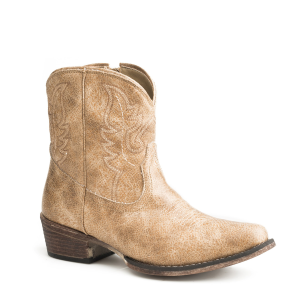 Women's  Beige Vintage Faux Leather Boot
