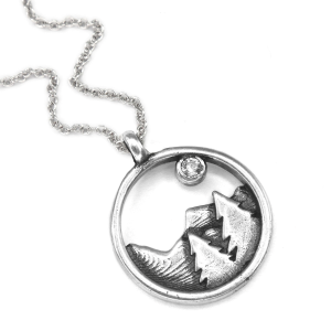 Women's  Mountain and Trees Necklace