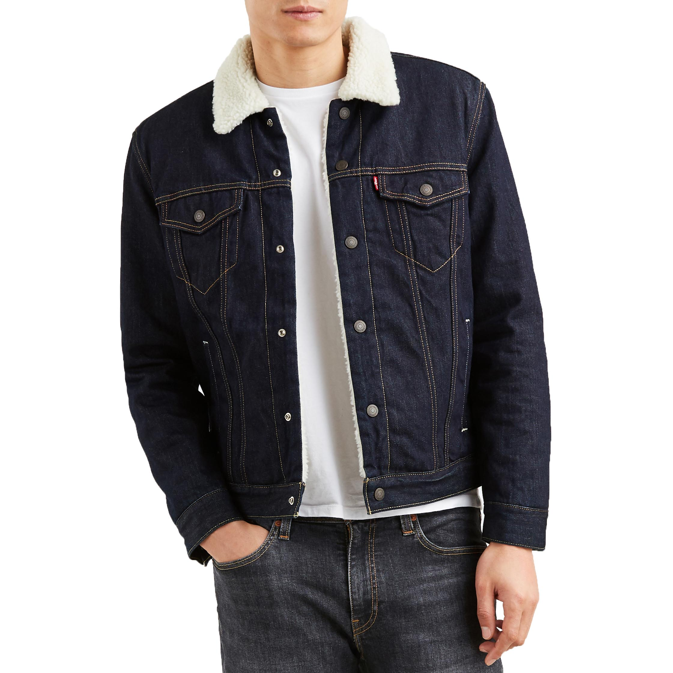 Levi/'s Men/'s Juniper Sherpa Lined Trucker Denim Jacket 16365-0075