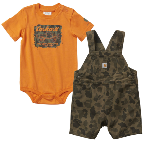 Boys'  Infant Green Duck Camo/Orange Shortall Set