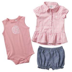 Girls'  Infant 3-Piece Plaid Short Set