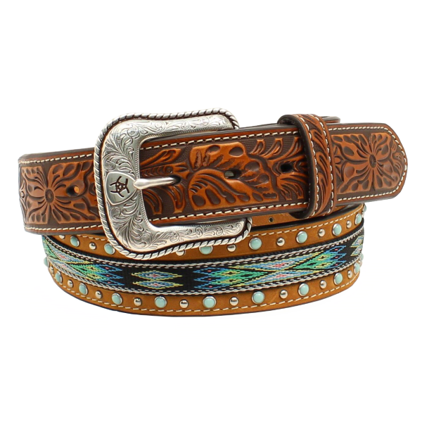 Turquoise Embroidered Tan Belt