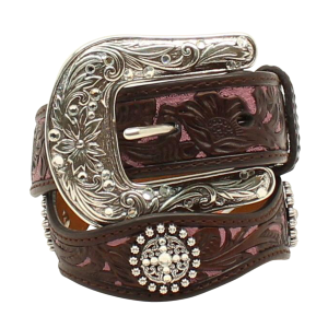 Girls'  Floral Embossed Pink Leather Background Belt
