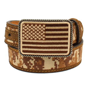 "Boys'  1-1/4"" Digital Camo Flag Buckle Belt"