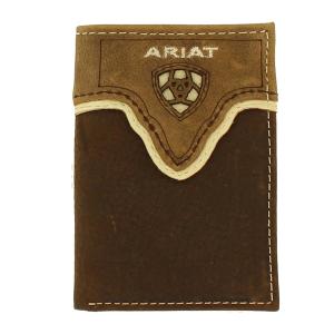 65bee1ed Men's Ariat Tri-Fold Rustic Shield Logo Wallet