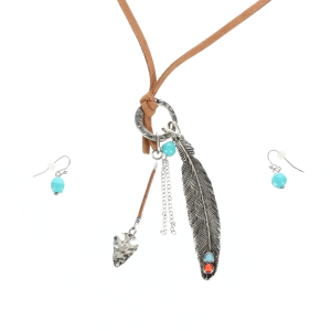 Women's  Knotted Necklace with Feather Pendant Jewelry Set
