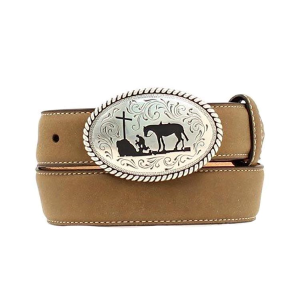 Boys'  Leather Belt with Cowboy Prayer Buckle