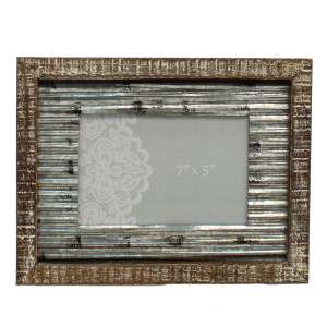 5 x 7 Wood & Tin Metal Rustic Photo Frame