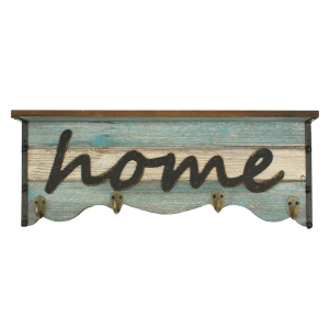 """Home"" Wall Shelf with Hooks"