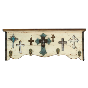 Crosses Wall Shelf with Hooks