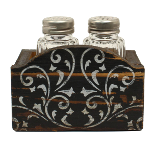 Salt & Pepper Shakers with Wood Stand