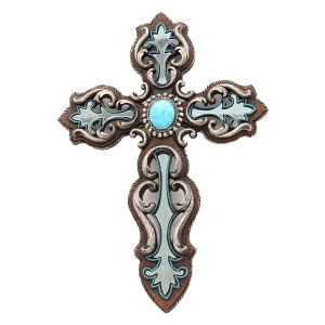 Western Wall Decor Cross with Turquoise Inlay