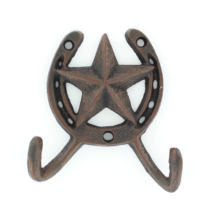 Double Cast Iron Hook - Star & Horseshoe
