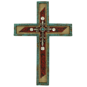Burlap, Red, and Turquoise Wall Cross