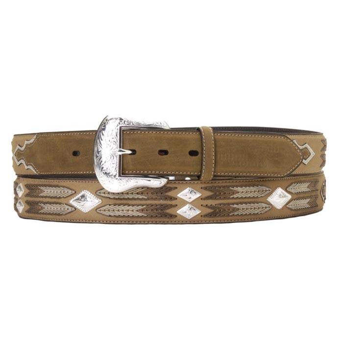 Nocona Western Mens Belt Leather Embossed Floral Tan N2412108