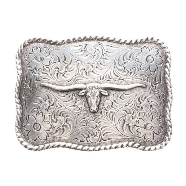Longhorn Floral Engraved Belt Buckle