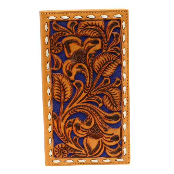 Blue Floral Embossed Rodeo Wallet