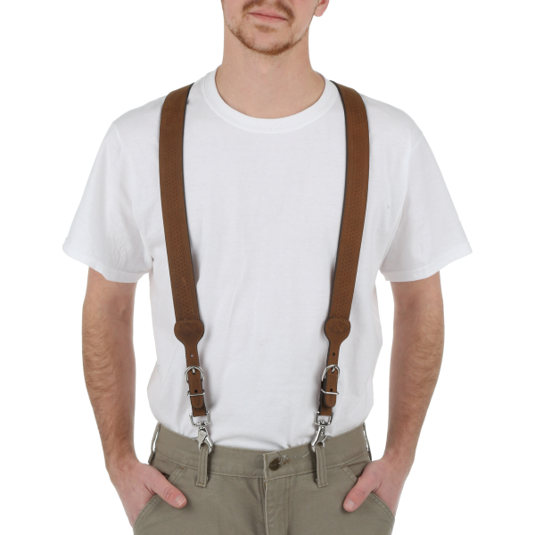 Galluse Basketweave Leather Suspenders