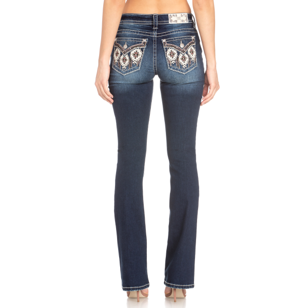 Western Embroidered Flap Pocket Boot Cut Jean