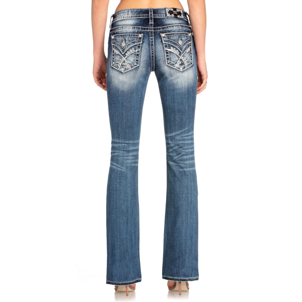 Embroidered Cross-Stitch Boot Cut Jean