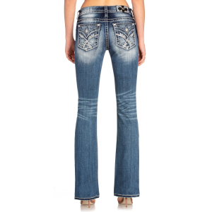 Women's  Embroidered Cross-Stitch Boot Cut Jean
