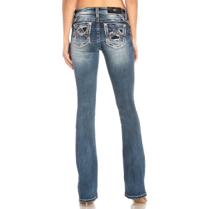 Women's  Distressed Orange/Blue Pocket Boot Cut Jean