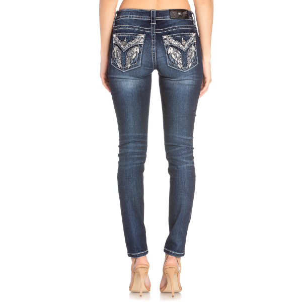 Embroidered Feather Flap Pocket Skinny Jean