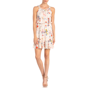 Women's  Floral Print Sleeveless Tie Back Dress
